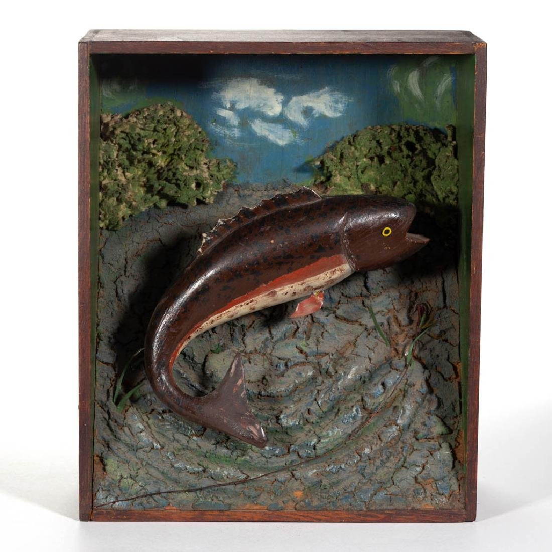 AMERICAN FOLK ART CARVED AND PAINTED FISH DIORAMA