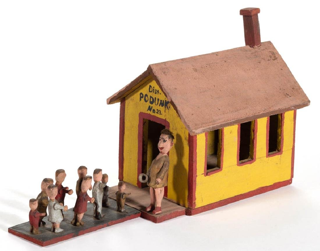 """AMERICAN FOLK ART CARVED AND PAINTED """"PODUNK"""" SCHOOL"""