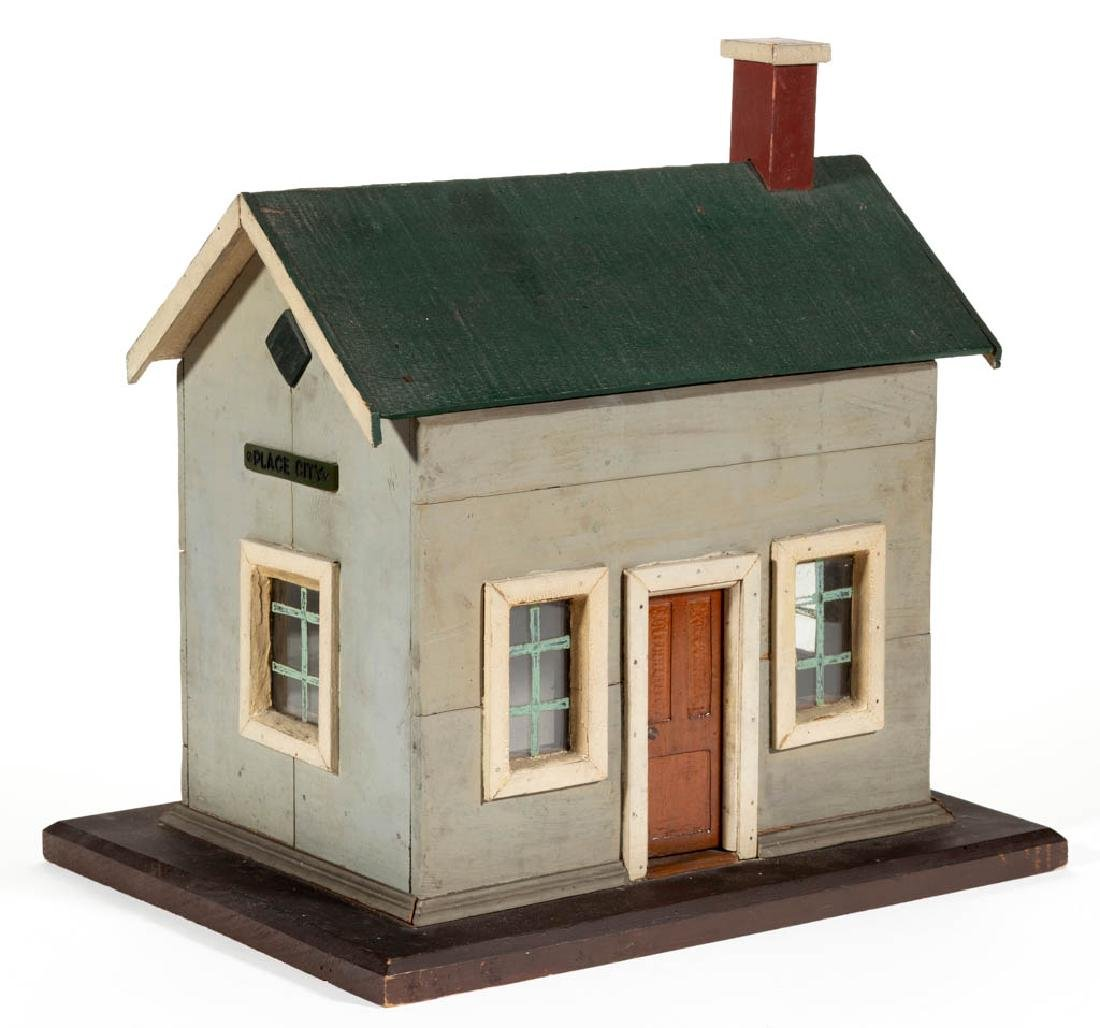 "FOLK ART PAINTED WOOD ""PLACE CITY"" HOUSE"