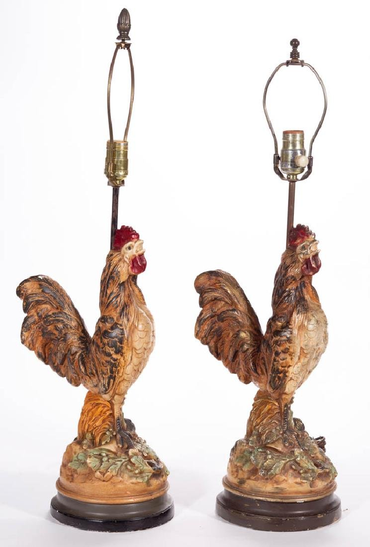 AMERICAN PAINTED CERAMIC PAIR OF ROOSTER LAMPS
