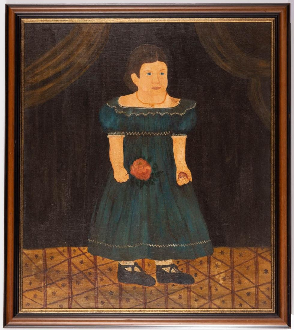 AMERICAN CONTEMPORARY FOLK ART PORTRAIT OF A GIRL
