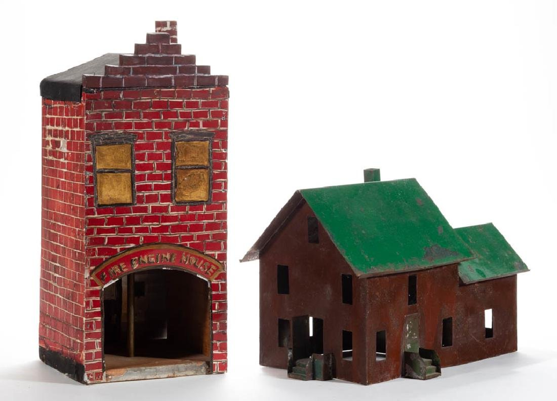 FOLK ART PAINTED TIN HOUSES, LOT OF TWO