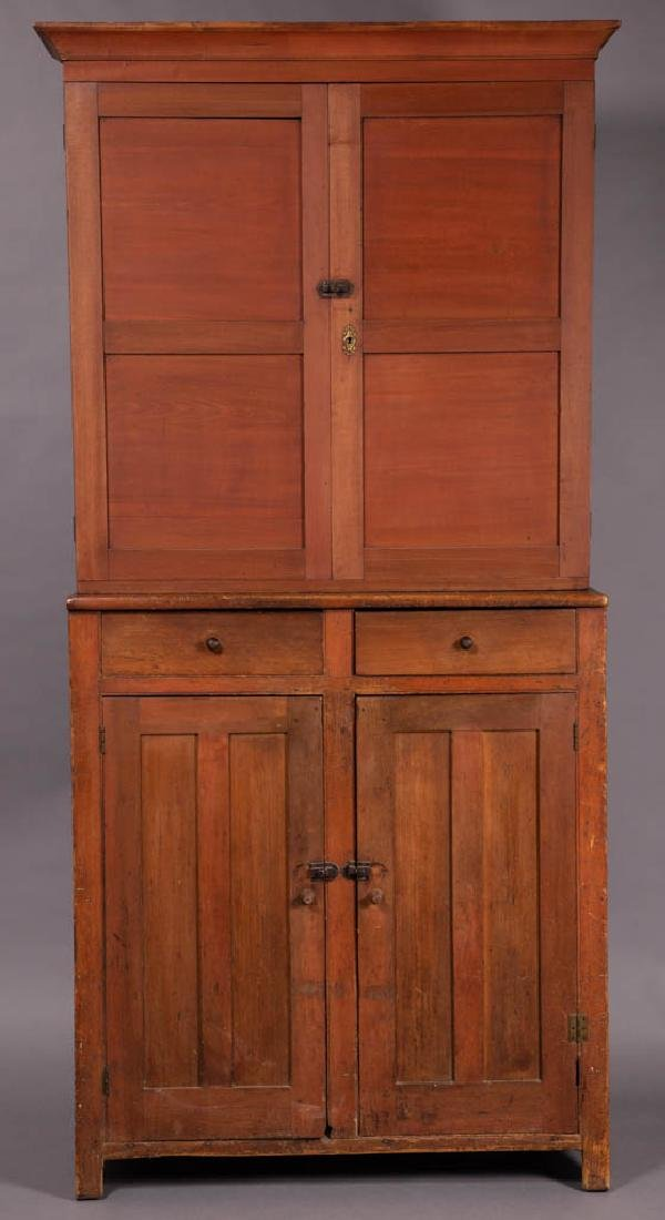 AMERICAN PAINTED MIXED-WOOD STEP-BACK CUPBOARD