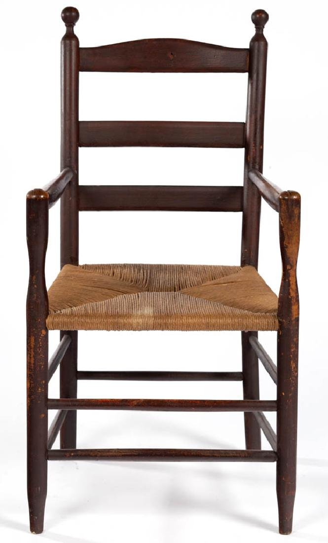 AMERICAN PAINTED PINE LADDERBACK ARM CHAIR