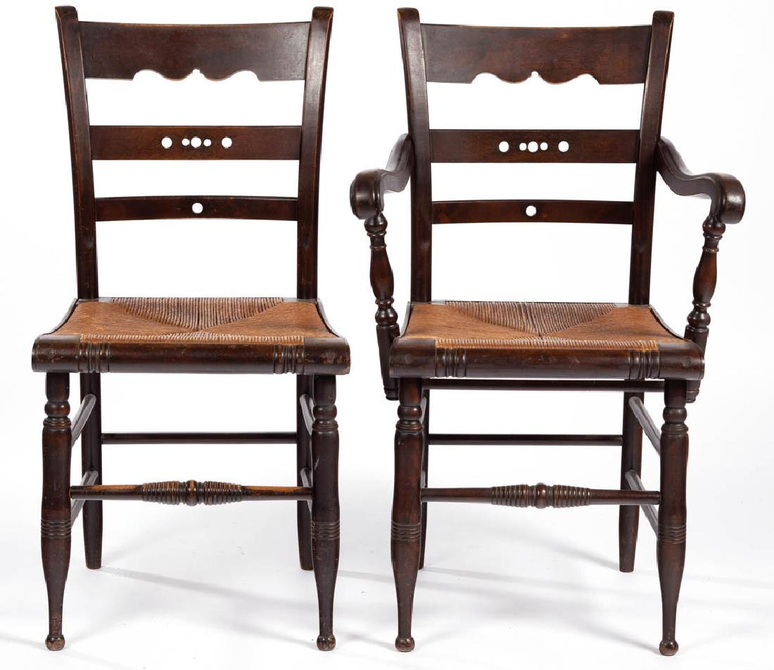 NEW ENGLAND RUSH-SEAT ARM AND SIDE CHAIR