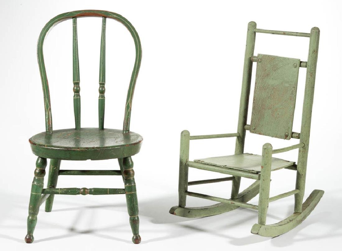 AMERICAN PAINT-DECORATED WOOD DOLL CHAIR