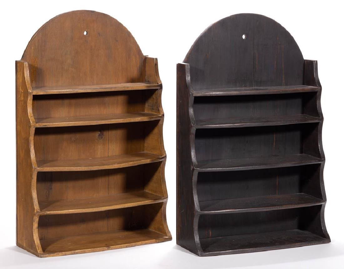 CONTEMPORARY WALL DISPLAY SHELVES, LOT OF TWO