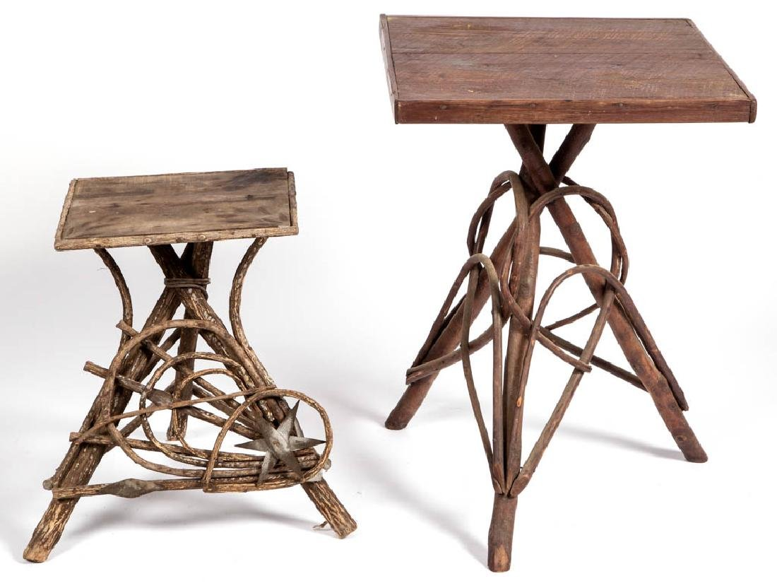 APPALACHIAN TWIG PLANT STANDS, LOT OF TWO
