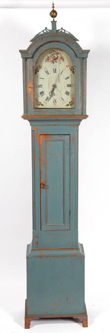 AARON WILLIARD-STYLE PAINTED TALL-CASE CLOCK