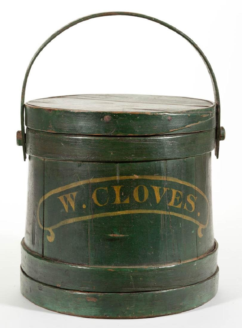 AMERICAN PAINTED TREEN SUGAR BUCKET / FIRKIN WITH COVER