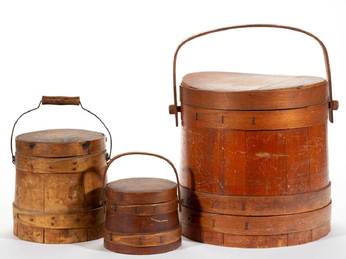 AMERICAN TREEN SUGAR BUCKETS / FIRKINS WITH COVERS, LOT