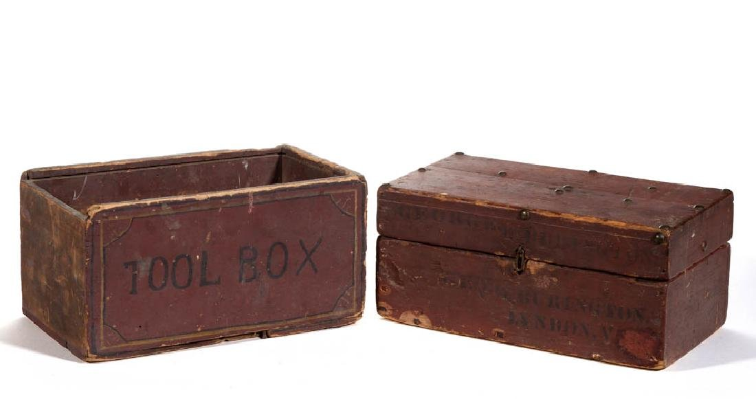 AMERICAN PAINTED WOOD TOOL BOXES, LOT OF TWO