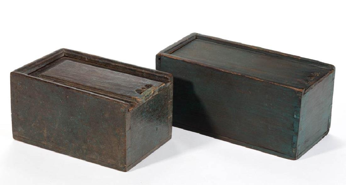 AMERICAN / ENGLISH PAINTED SLIDE-TOP BOXES, LOT OF TWO