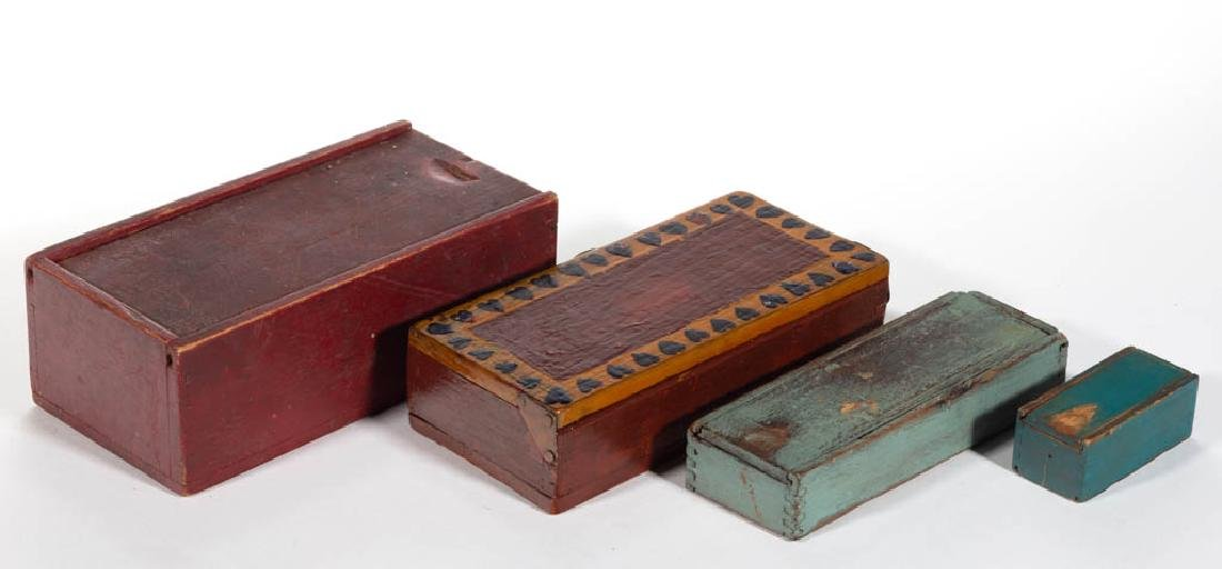 ASSORTED COUNTRY PAINTED BOXES, LOT OF FOUR