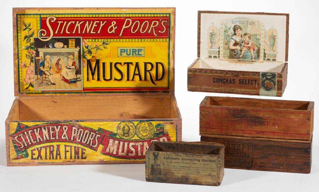 STICKNEY & POOR'S MUSTARD LITHOGRAPH AND WOOD