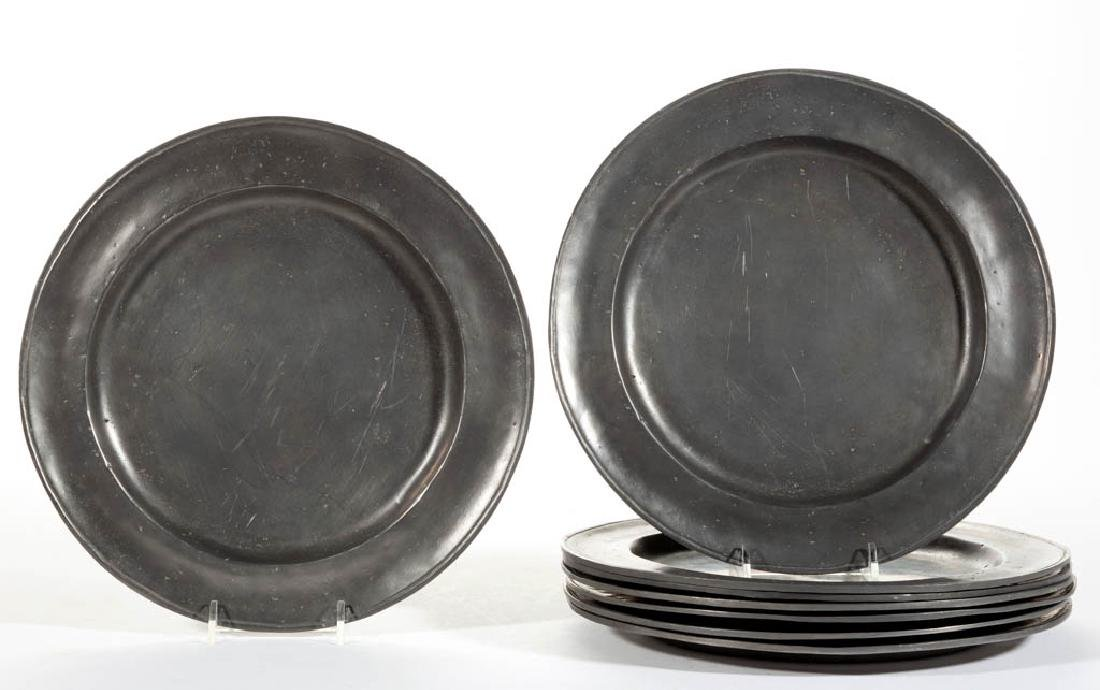 OLD WORLD PEWTER HAND-CRAFTED REPRODUCTION PLATES, SET