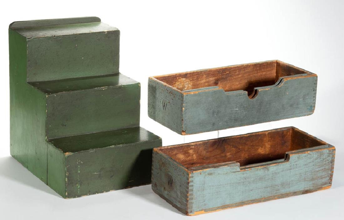 COUNTRY STORE PAINTED WOOD DISPLAY STEPS, LOT OF THREE