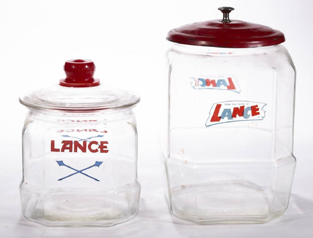 LANCE COUNTRY STORE GLASS JARS, LOT OF TWO