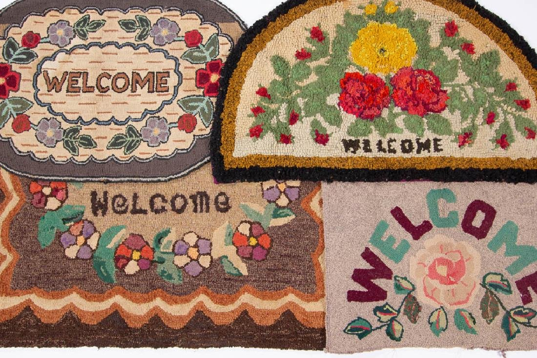 FOLK ART WELCOME HOOKED RUGS / MATS, LOT OF FOUR