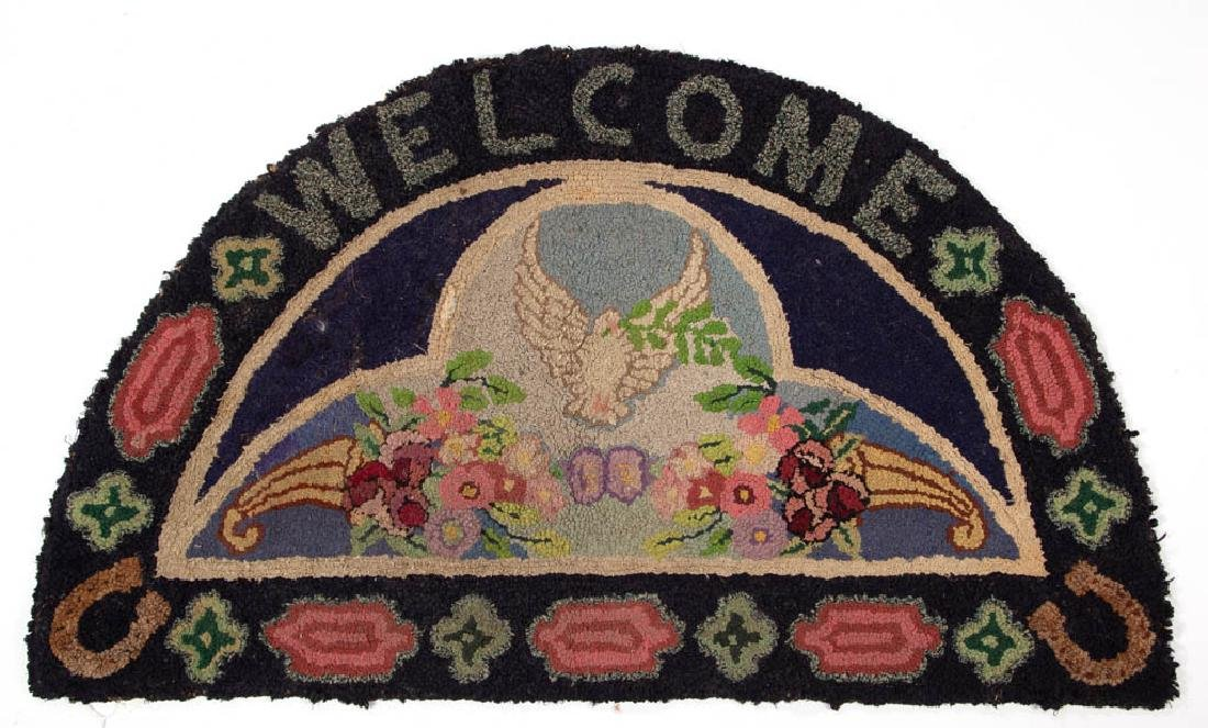 FOLK ART PICTORIAL WELCOME HOOKED RUG / MAT