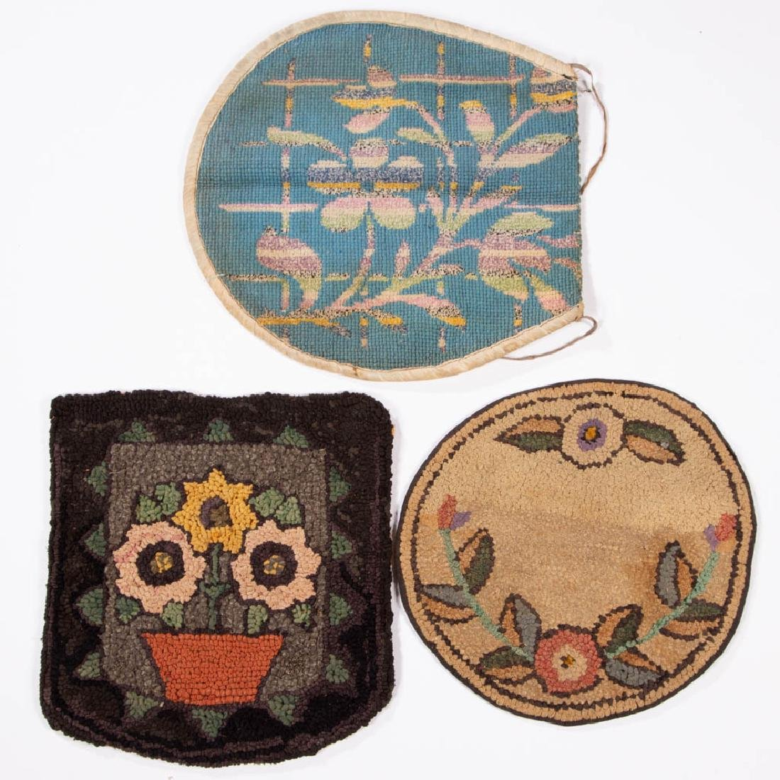 FOLK ART FLORAL HOOKED SEAT PADS, LOT OF THREE