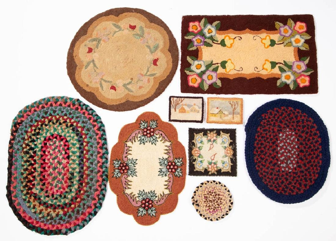 ASSORTED DOLL AND MINIATURE RUGS / MATS, LOT OF NINE