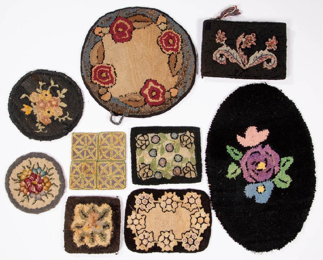 ASSORTED HOOKED MATS, LOT OF EIGHT