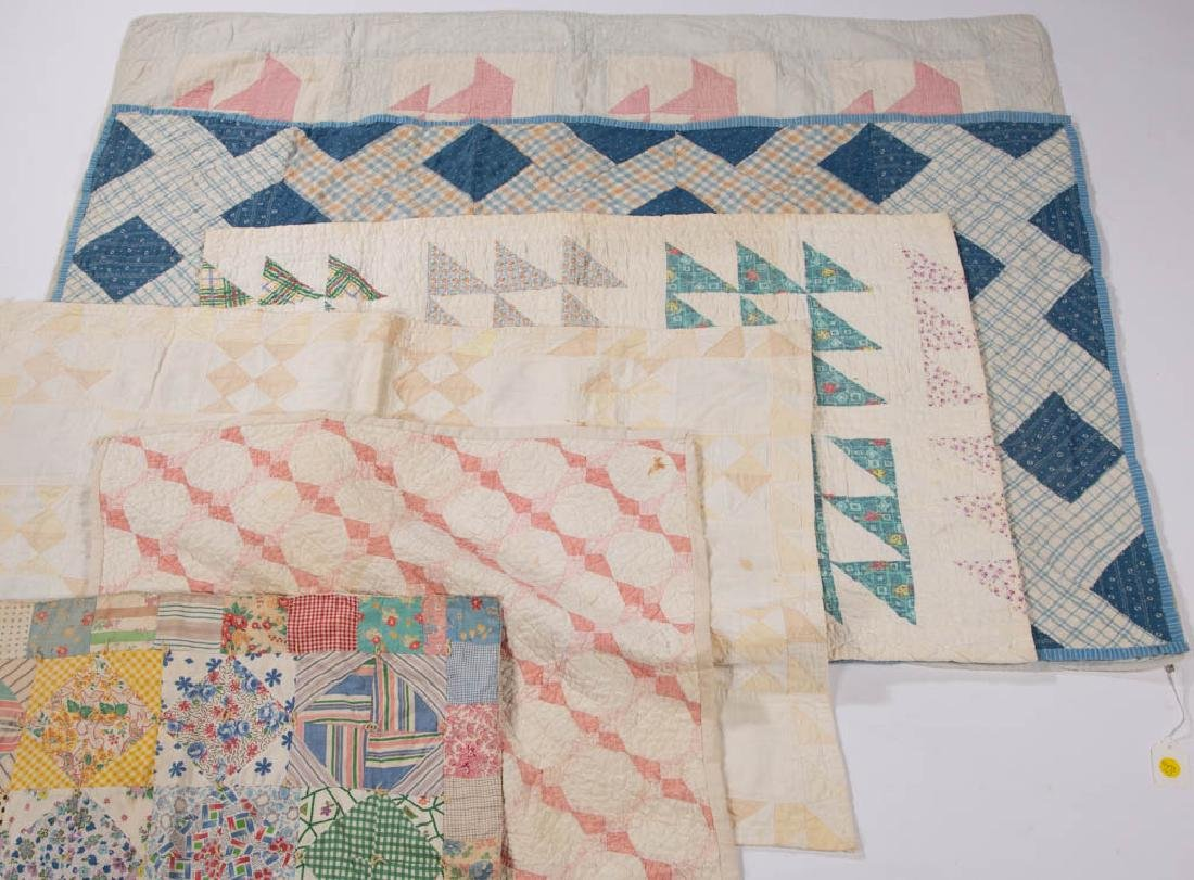 ASSORTED AMERICAN PIECED CRIB QUILTS, LOT OF SIX