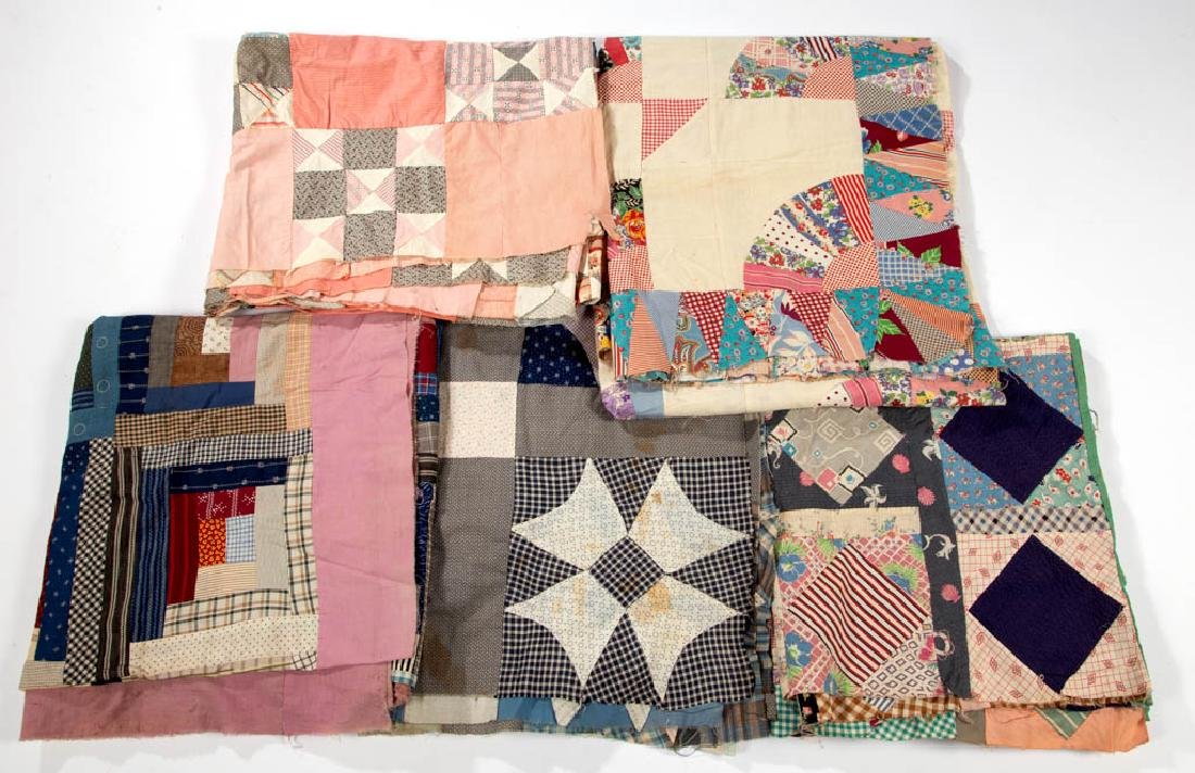 ASSORTED AMERICAN PIECED QUILT TOPS, LOT OF FIVE
