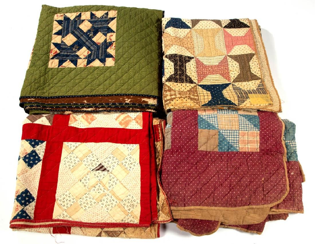 ASSORTED AMERICAN PIECED QUILTS, LOT OF FOUR