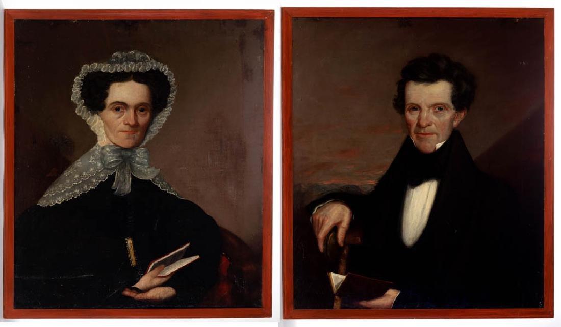 PAIR OF AMERICAN SCHOOL (19TH C.) FOLK ART PORTRAITS