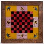 AMERICAN FOLK ART REVERSE-PAINTED GLASS GAME BOARD