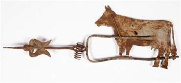 AMERICAN FOLK ART CUTOUT SHEETMETAL COW WEATHERVANE