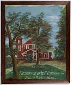 AMERICAN SCHOOL (20TH C.) FOLK ART PAINTING OF WESTERN