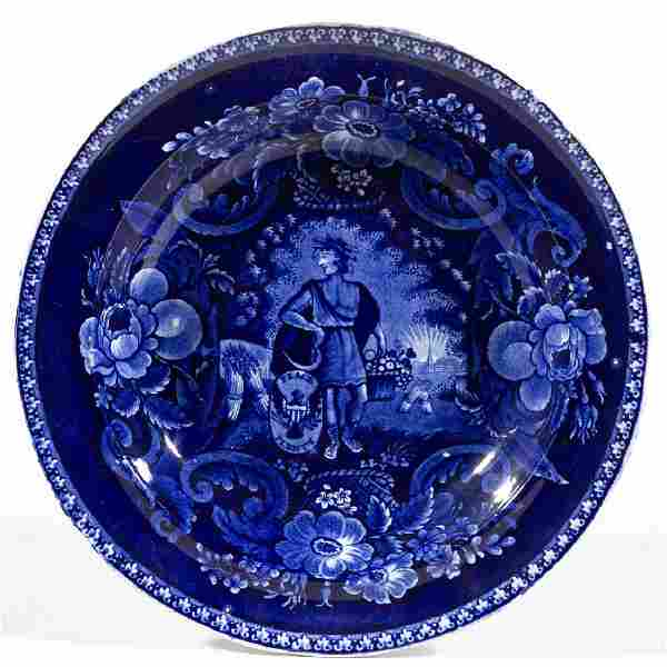 ENGLISH STAFFORDSHIRE PEARLWARE TRANSFER-PRINTED SOUP