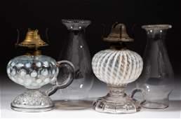 ASSORTED OPALESCENT KEROSENE FOOTED FINGER LAMPS LOT