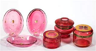 VICTORIAN CRANBERRY GLASS DRESSER ARTICLES, LOT OF SIX
