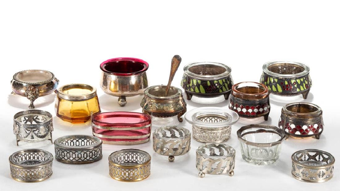 ASSORTED SILVER-PLATED / METAL AND GLASS OPEN SALTS,