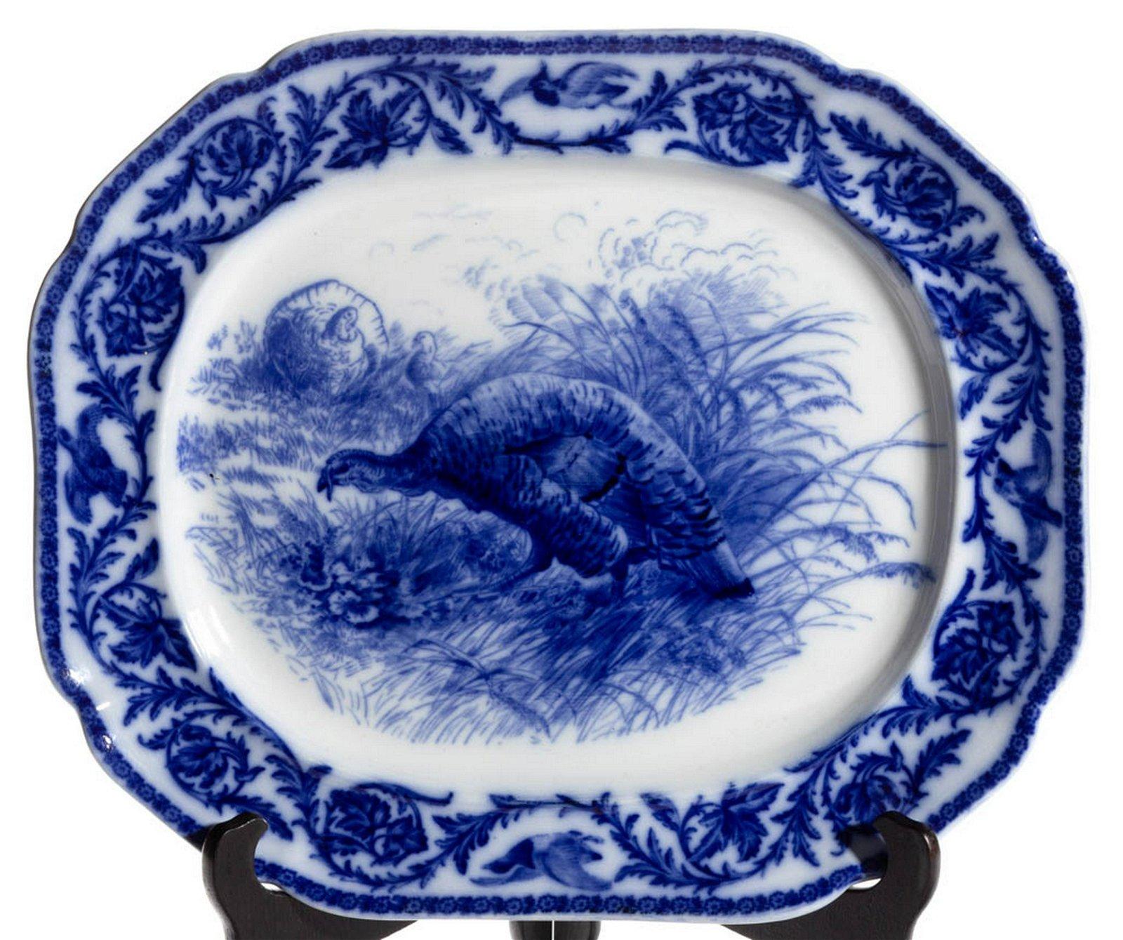 ENGLISH STAFFORDSHIRE FLOW BLUE IRONSTONE TURKEY