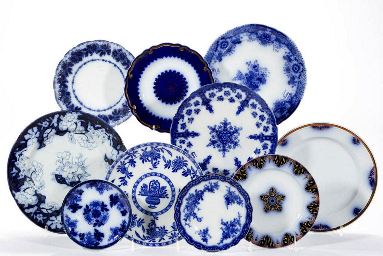 ASSORTED FLOW BLUE FLORAL MOTIF CERAMIC ARTICLES, LOT