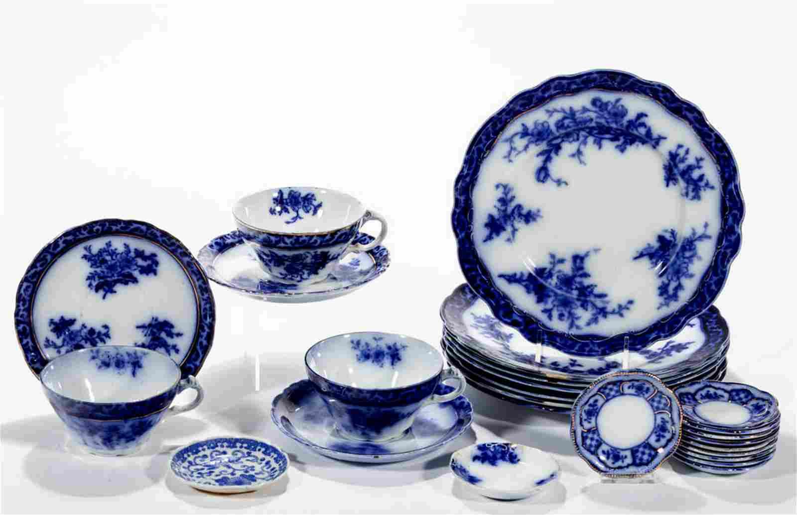 ENGLISH STAFFORDSHIRE FLOW BLUE TRANSFER-PRINTED