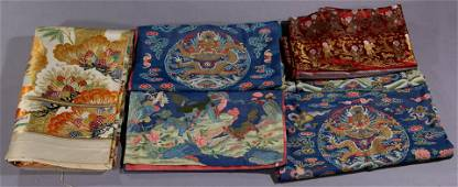 CHINESE / JAPANESE TEXTILES, LOT OF FIVE