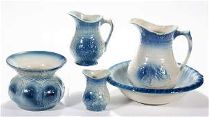 AMERICAN BLUE AND WHITE STONEWARE ARTICLES LOT OF FIVE