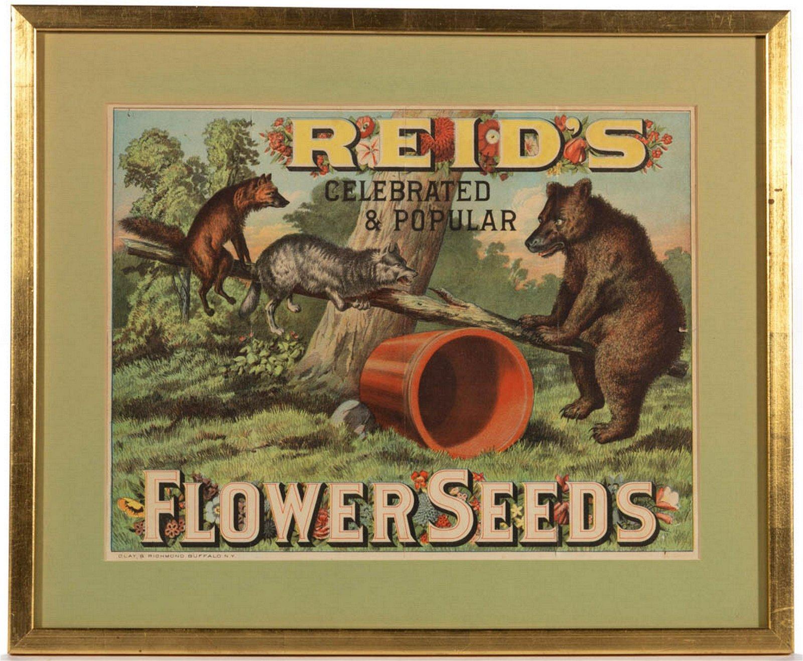 REID'S CELEBRATED AND POPULAR FLOWER SEEDS ADVERTISING