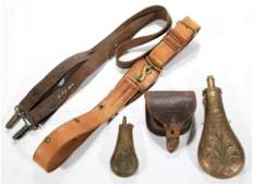 ASSORTED CIVIL WAR AND OTHER ACCOUTREMENTS, LOT OF FIVE