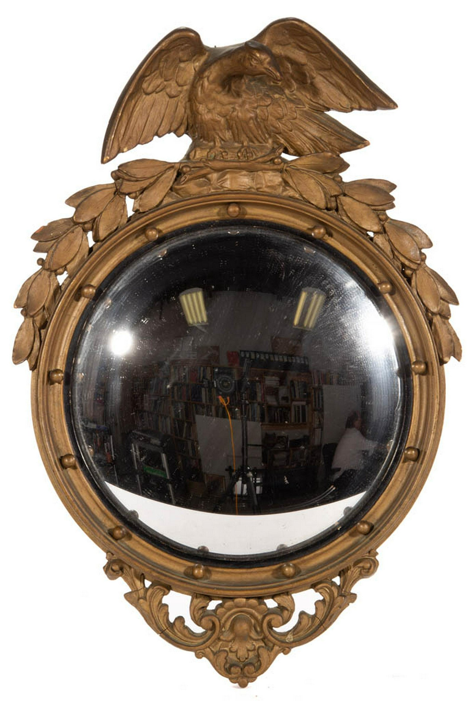 FEDERAL-STYLE GILTWOOD CONVEX WALL MIRROR