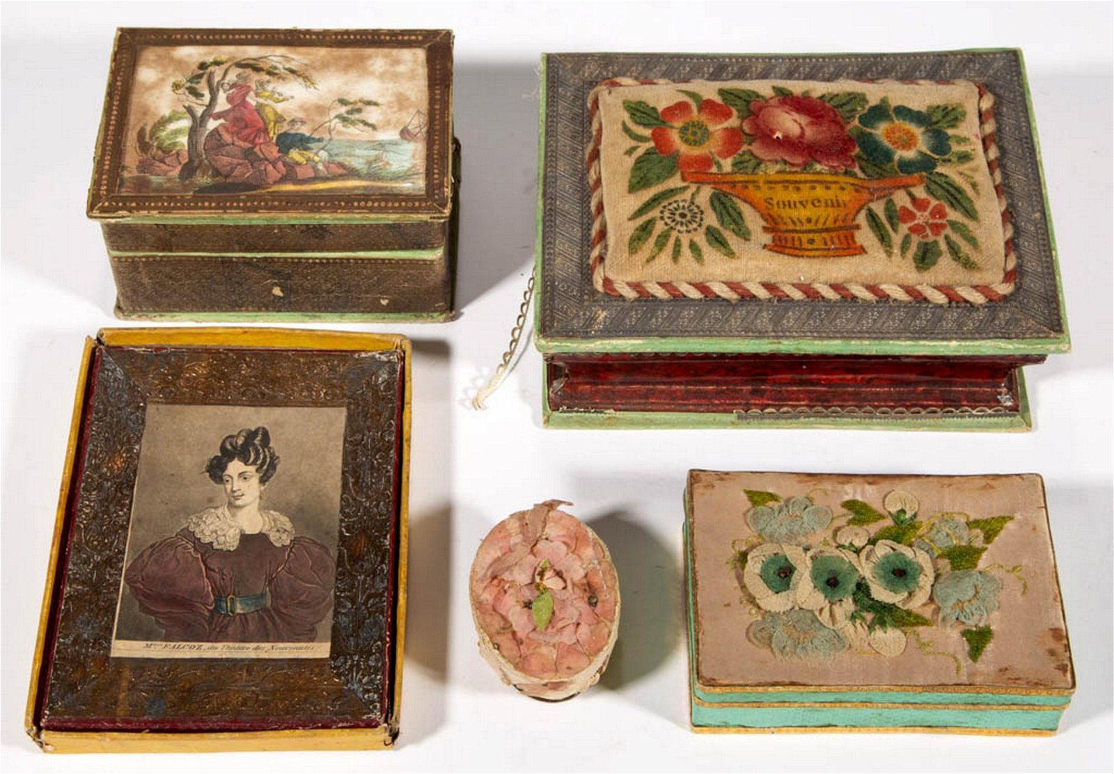 ANTIQUE SEWING / KEEPSAKE BOXES, LOT OF FIVE
