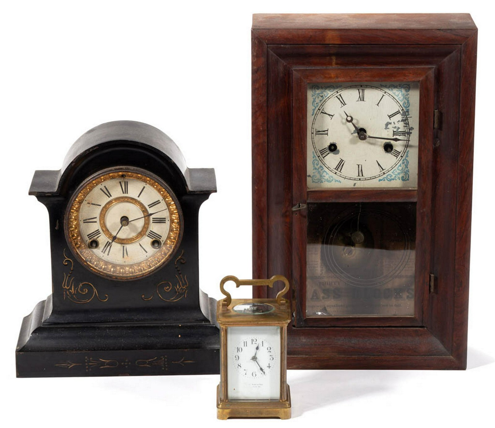 ASSORTED SHELF / CARRIAGE CLOCKS, LOT OF THREE