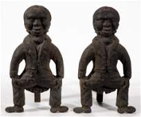 PAIR OF FOLK ART / BLACK AMERICANA FIGURAL CAST-IRON