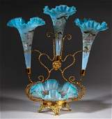 VICTORIAN OPALESCENT GLASS AND METAL EPERGNE
